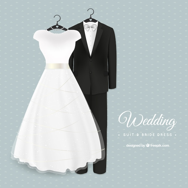 Glamorous wedding suit and bride dress Vector