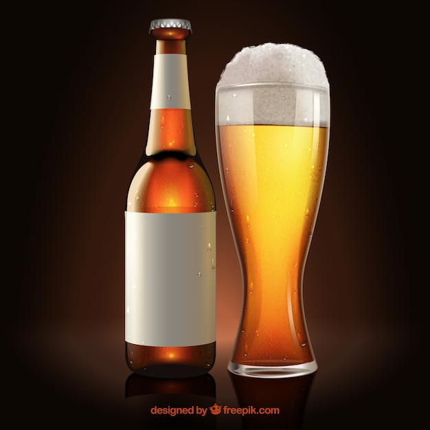 Download Glass of beer and bottle with label Vector   Free Download