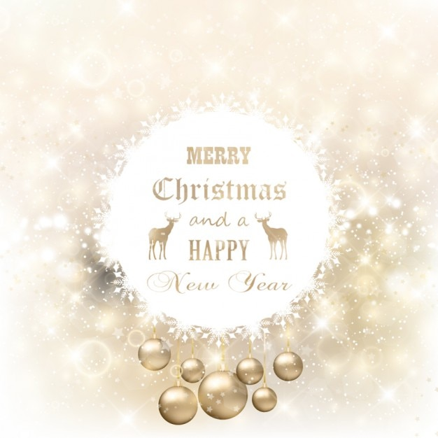 Golden And Glitter Christmas Card Vector Free Download