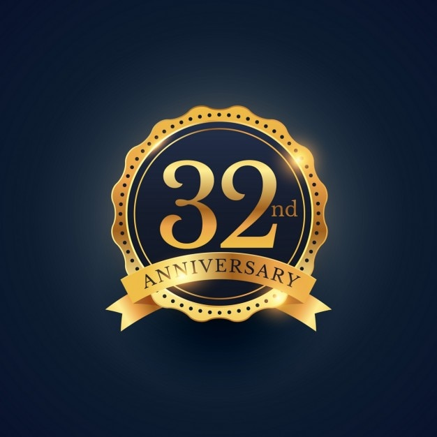 Golden badge for the 32nd anniversary Vector  Free Download