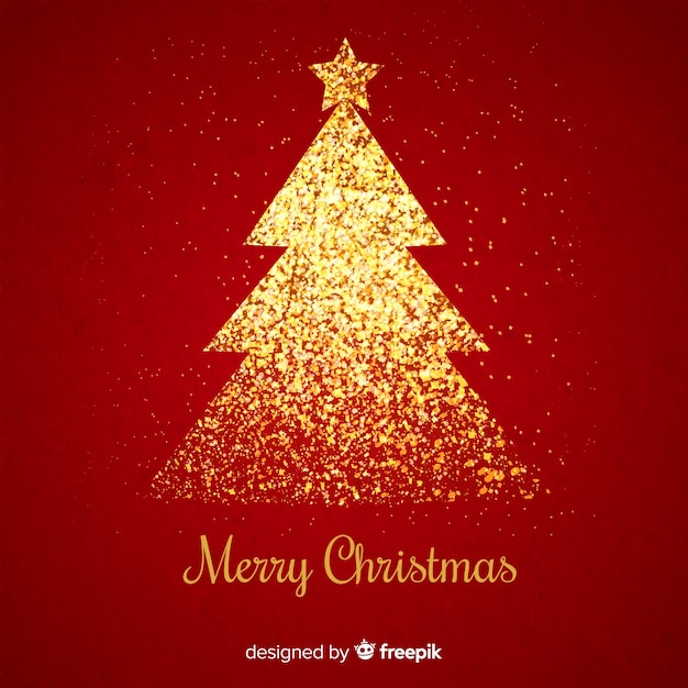 Golden glitter christmas tree in red background Free Vector