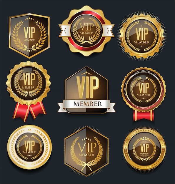 golden vip badges vector