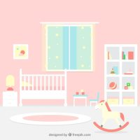 Great baby room with pink wall Vector | Free Download