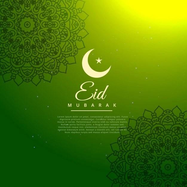 Green eid mubarak festival background Vector  Free Download