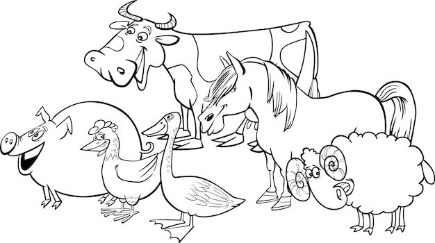 Group of cartoon farm animals for coloring Vector