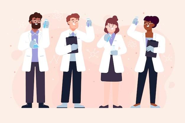 Group of scientists workers holding tubes  الفروق بين دراسة الطب والصيدلة كثيرة.