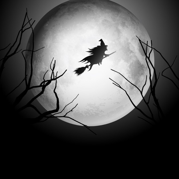 halloween background with silhouette