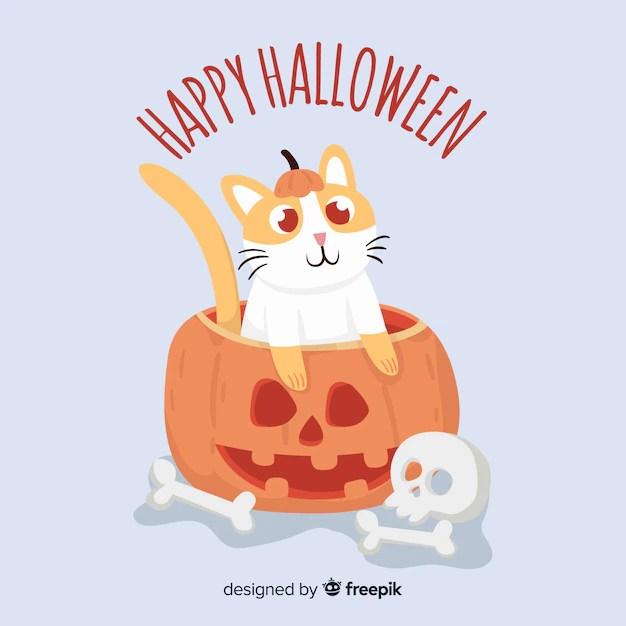 1920x1200 cute cat halloween wallpaper halloween cat wallpaper. Free Vector Halloween Cute Cat Background In Flat Design