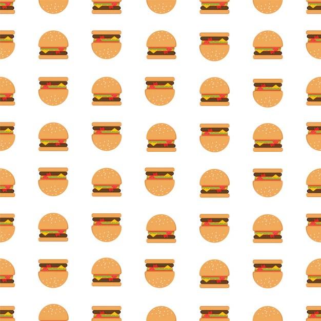 Cute Hamburger Wallpaper Hamburger Pattern Background Vector Free Download