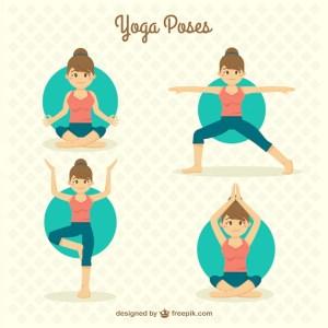 yoga poses woman vector doing drawn drawing nice practices loss weight help han freepik does vectors hand vinyasa material flat