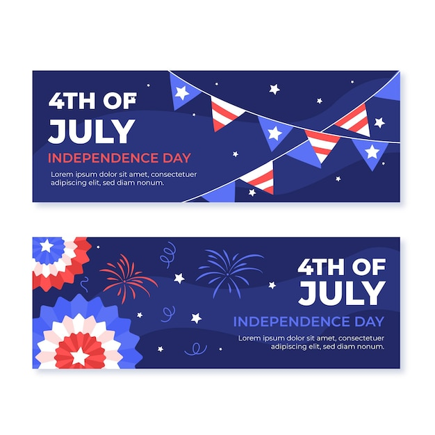 Hand drawn 4th of july - independence day banners set Free Vector