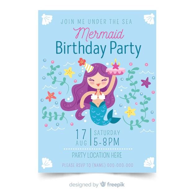free mermaid invitation vectors 100