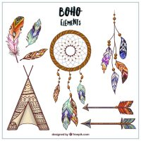 Hand drawn boho style designs Vector | Free Download