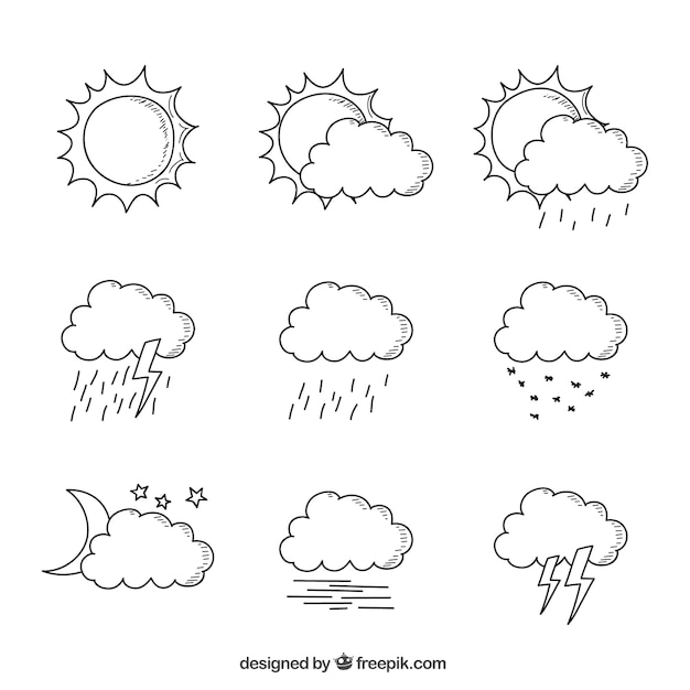 Hand-drawn collection of clouds in different weather