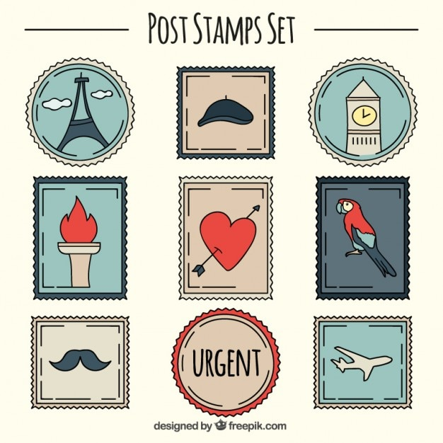 hand drawn cute stamps