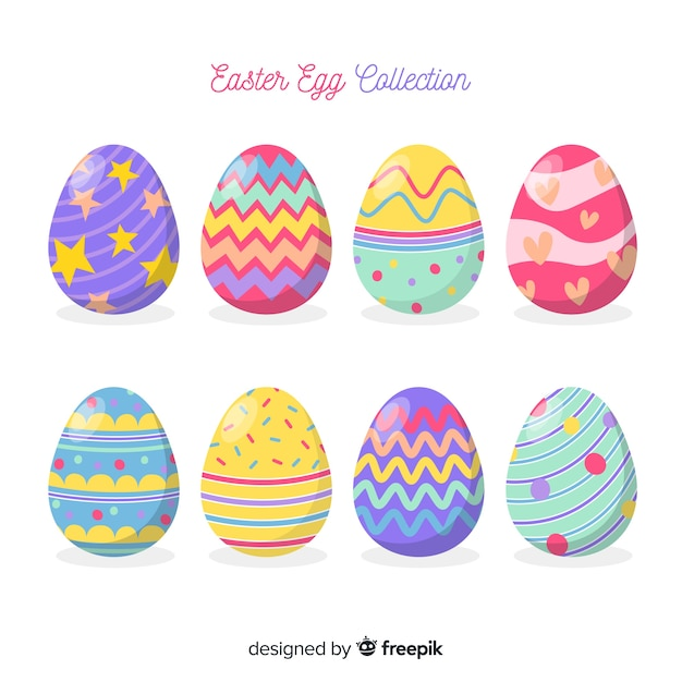 Hand drawn easter day egg collection Premium Vector