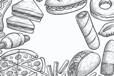 hand fondo achtergrond drawn vector mano fast gratis freepik disegnato sfondo gezeichneter comida fastfood getekend della gratuito vektoren hintergrund summer