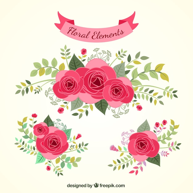 Hand Drawn Floral Elements Vector Free Download