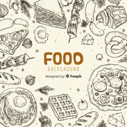 Premium Vector Hand drawn food background