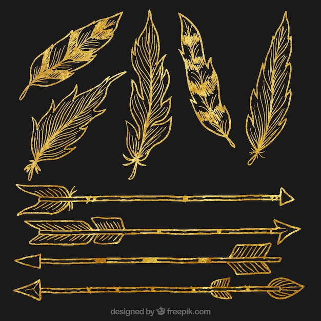 Hand Drawn Golden Feathers And Arrows Vector Free Download