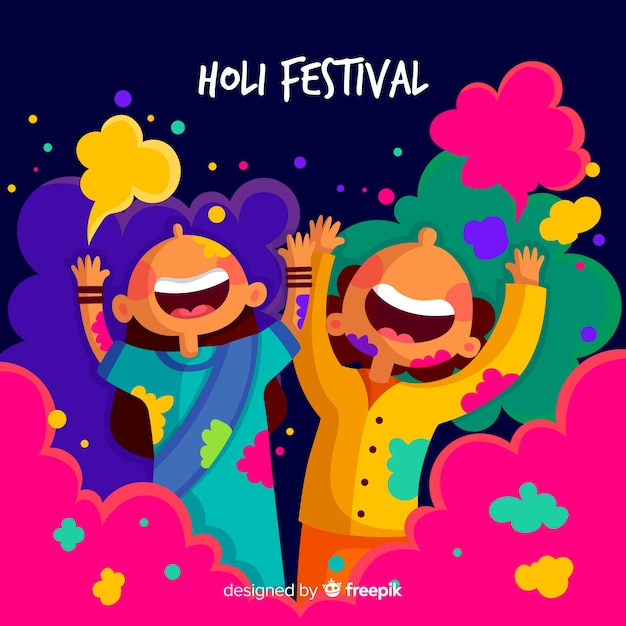 Free Vector Hand Drawn Kids Holi Festival Background