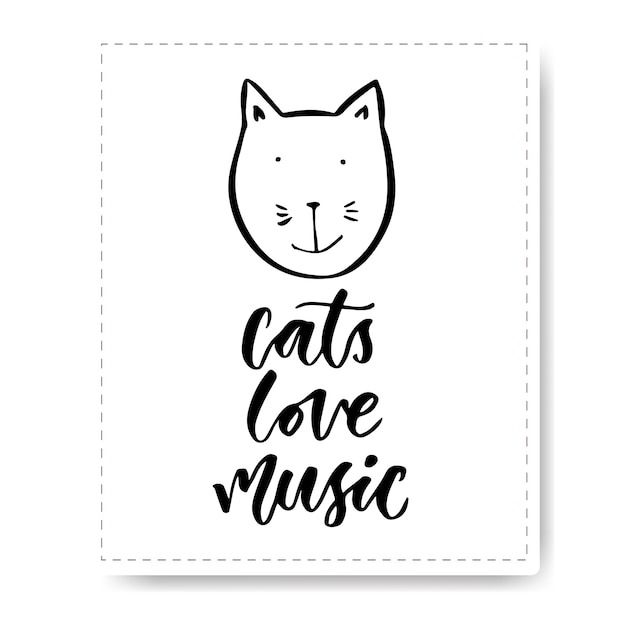 Download Premium Vector | Hand drawn lettering with cute cat. cats ...