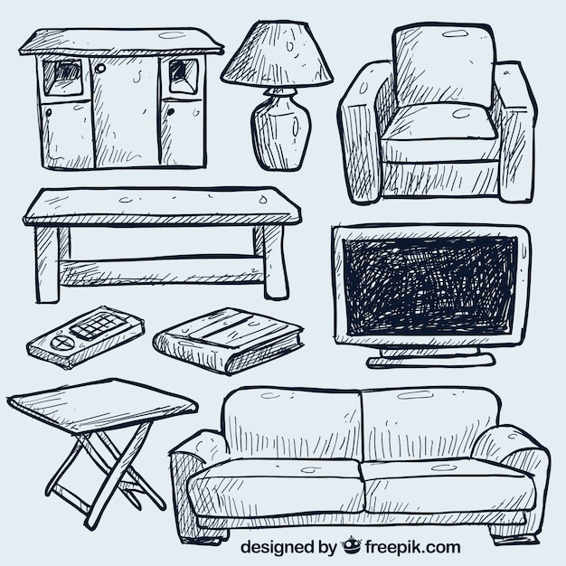 Hand drawn living room furniture Vector  Free Download