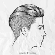 hand drawn male hairstyle vector