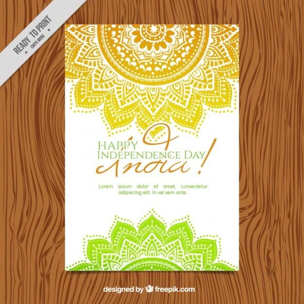 Hand Drawn Mandalas India Independence Day Invitation Free Vector