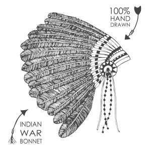 headdress native indian american chief sketch tribal vector feathers hand illustration drawn drawing tattoo vectors collect getdrawings