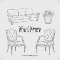 Hand drawn vintage furniture Vector | Premium Download