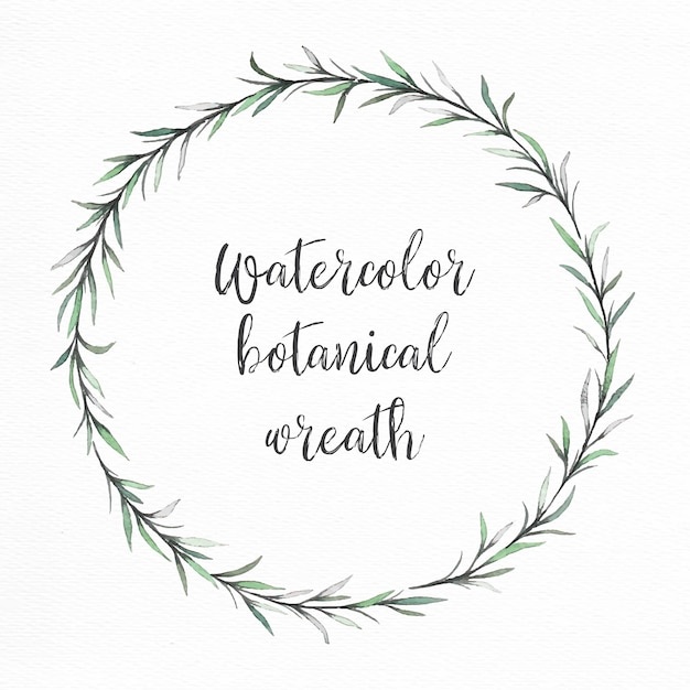 Hand painted watercolor green wreath Vector  Free Download