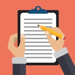 Hands holding document and pencil Free Vector