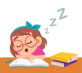Premium Vector Happy cute girl sleep while study in class