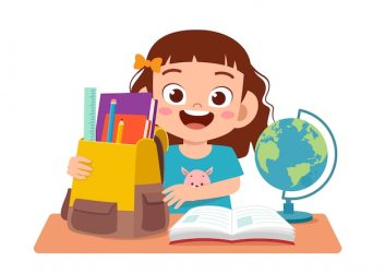 Premium Vector Happy cute girl studying on cute table