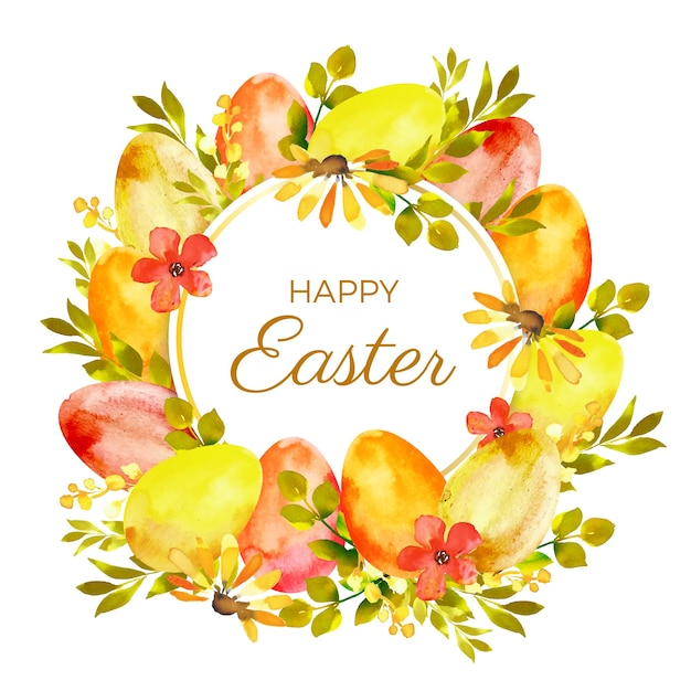 Happy easter day watercolor style Free Vector