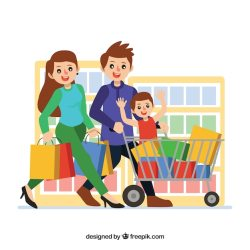 Free Vector Happy family shopping with flat design