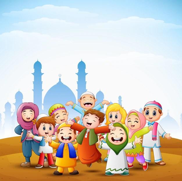 Happy kids celebrate for eid mubarak with mosque