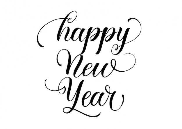Happy new year calligraphy Vector | Free Download