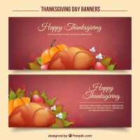 Happy thanksgiving day with realistic banners Vector ...