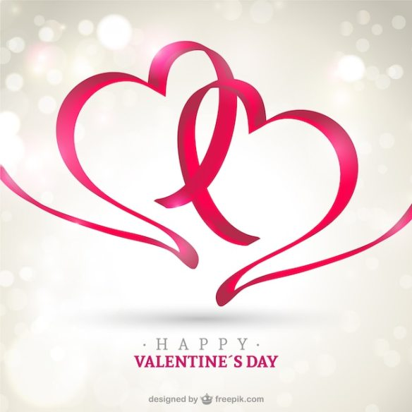 Happy Valentine's card Free Vector - 2 Ribbon Hearts