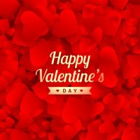 Happy valentines day card with red hearts Vector | Free ...