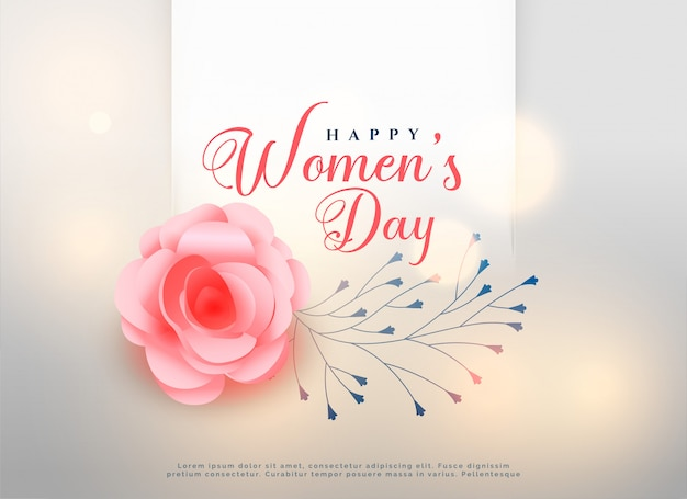 Happy women's day rose flower background card | Free Vector