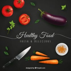 Premium Vector Healthy food background in realistic style
