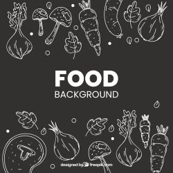 Free Vector Healthy food background with hand drawn style