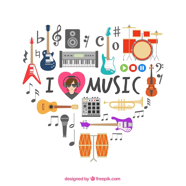 Heart Made Of Musical Icons Vector Free Download