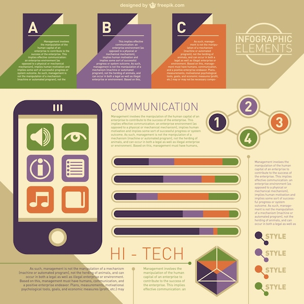 High Tech Infographic Vector  Free Download