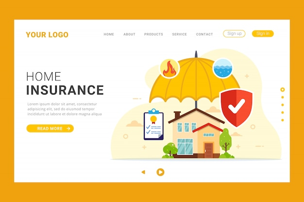 Construction type all levels stories garage # of stalls. Premium Vector Home Insurance Landing Page Template