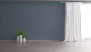 empty background living interior wall window apartment realistic floor 3d indoor hall vector laminate curtain plants vectors parquet flowerpots illustration