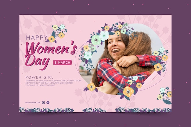 Horizontal banner for international women's day with women and flowers Free Vector